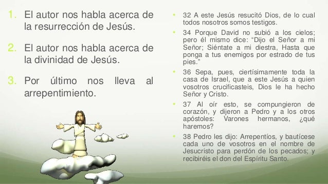 1. El autor nos habla acerca de la resurrección de Jesús. 2. El autor nos habla acerca de la divinidad de Jesús. 3. Por úl...