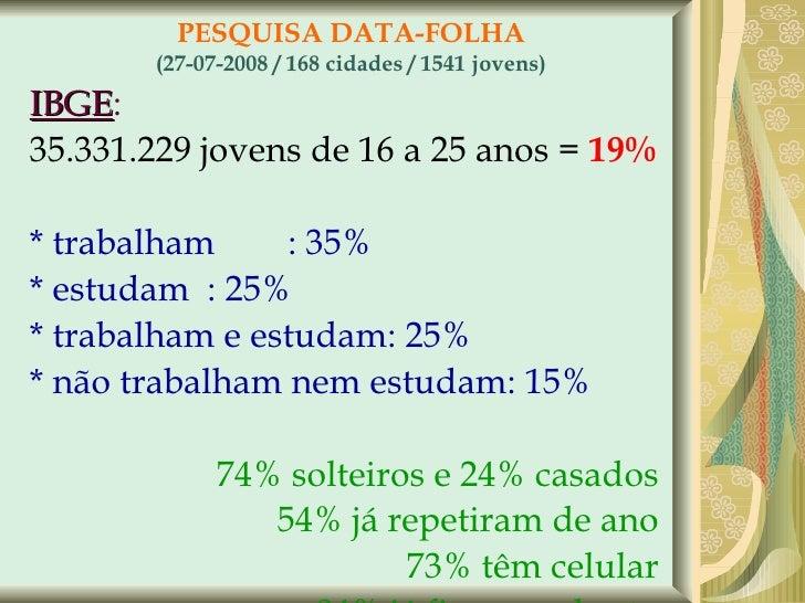 PESQUISA DATA-FOLHA (27-07-2008 / 168 cidades / 1541 jovens) <ul><li>IBGE :  </li></ul><ul><li>35.331.229 jovens de 16 a 2...