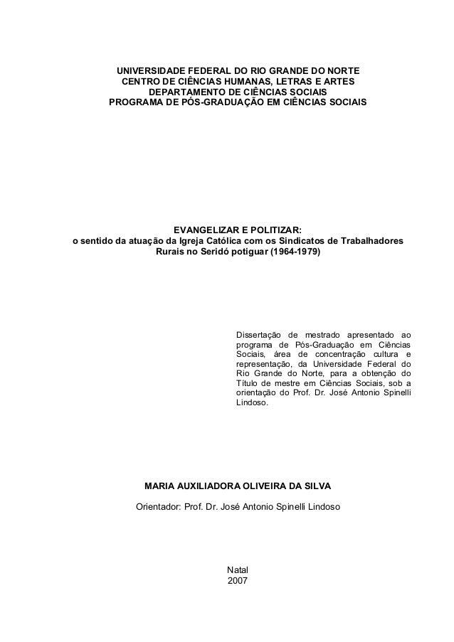 UNIVERSIDADE FEDERAL DO RIO GRANDE DO NORTE CENTRO DE CIÊNCIAS HUMANAS, LETRAS E ARTES DEPARTAMENTO DE CIÊNCIAS SOCIAIS PR...