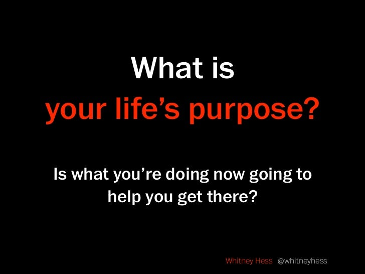 What is your life's purpose? Is what you're doing now going to        help you get there?                        Whitney H...