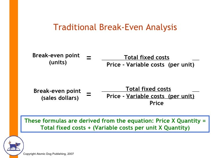 calculating fixed costs variable costs and break even point for a program Variable costs (vc) break-even point calculate the break-even point (i) in dollars (ii) as a percent of capacity (c) determine the break-even point in dollars if the fixed costs are reduced by break-even & cvp analysis author: esimpson.