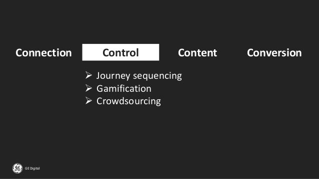 GE Digital Connection Control Content Conversion ➢ Journey sequencing ➢ Gamification ➢ Crowdsourcing