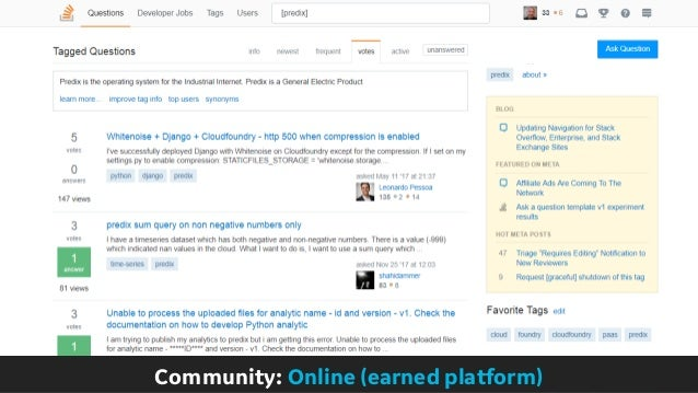 Community: Online (earned platform)
