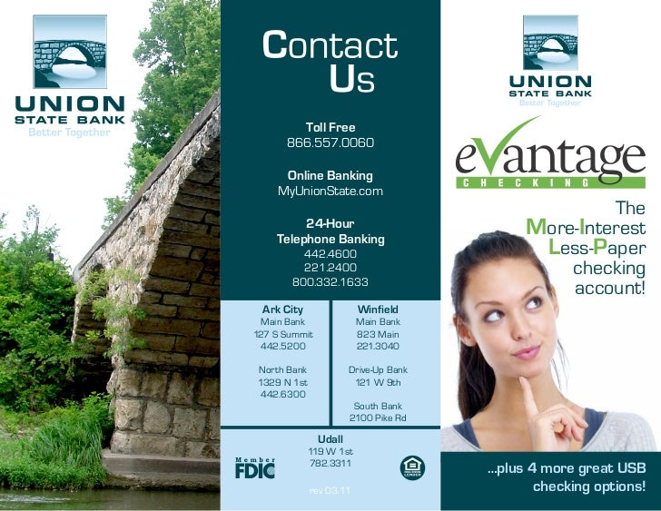 Union State Bank eVantage Checking Brochure