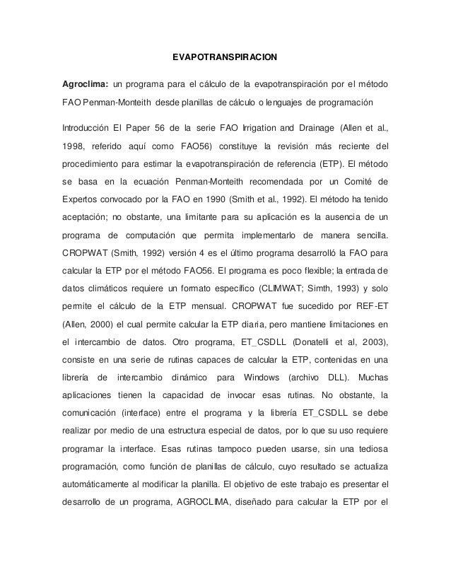 EVAPOTRANSPIRACION Agroclima: un programa para el cálculo de la evapotranspiración por el método FAO Penman-Monteith desde...