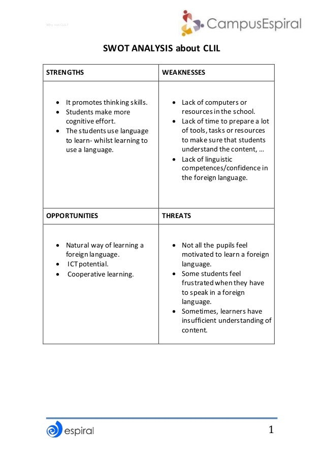 Why not CLIL? 1 SWOT ANALYSIS about CLIL STRENGTHS WEAKNESSES  Itpromotes thinking skills.  Students make more cognitive...