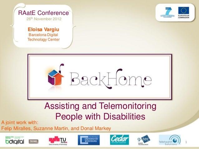 RAatE Conference           26th November 2012           Eloisa Vargiu            Barcelona Digital           Technology Ce...