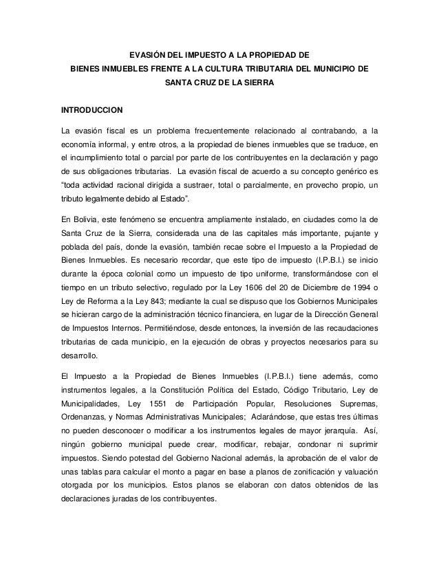 EVASIÓN DEL IMPUESTO A LA PROPIEDAD DE  BIENES INMUEBLES FRENTE A LA CULTURA TRIBUTARIA DEL MUNICIPIO DE                  ...