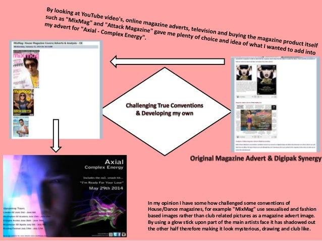 By using an application called Photoshop I added many conventions that are seen in magazine adverts as well as implementin...