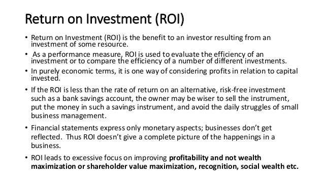 eva vs roi What is the difference between eva and roi eva is a measure to assess how effectively company assets are utilized to generate income roi calculates return.