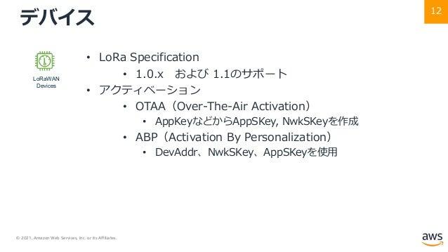 © 2021, Amazon Web Services, Inc. or its Affiliates. 12 デバイス • LoRa Specification • 1.0.x および 1.1のサポート • アクティベーション • OTAA(...