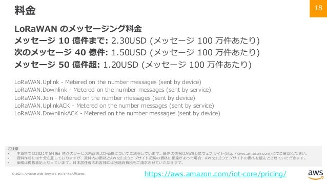 © 2021, Amazon Web Services, Inc. or its Affiliates. 18 料⾦ LoRaWAN のメッセージング料⾦ メッセージ 10 億件まで: 2.30USD (メッセージ 100 万件あたり) 次のメ...