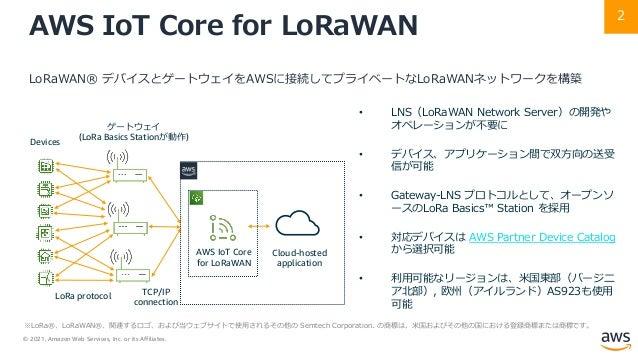 © 2021, Amazon Web Services, Inc. or its Affiliates. 2 AWS IoT Core for LoRaWAN LoRaWAN® デバイスとゲートウェイをAWSに接続してプライベートなLoRaWA...