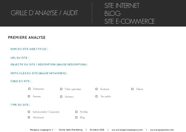 GRILLE D'ANALYSE / AUDIT PREMIERE ANALYSE NOM DU SITE WEB <TITLE> : o Entreprises SITE INTERNET BLOG SITE E-COMMERCE URL D...