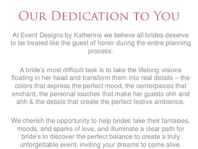 event designs by katherine wedding planning packages
