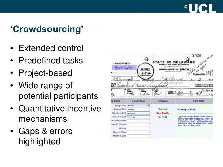 'Crowdsourcing'<br />Extended control<br />Predefined tasks<br />Project-based<br />Wide range of potential participants<b...