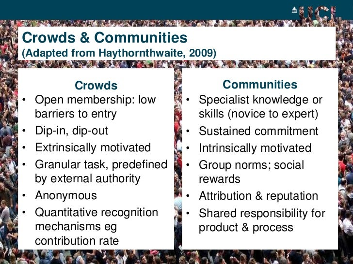 Crowds & Communities(Adapted from Haythornthwaite, 2009)<br />Communities<br />Crowds<br /><ul><li>Specialist knowledge or...