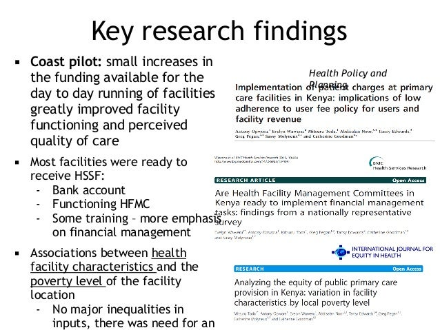 Key research findings ▪ Coast pilot: small increases in the funding available for the day to day running of facilities gre...
