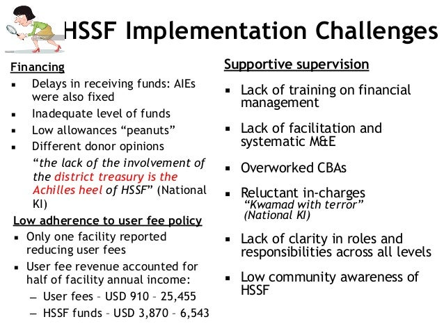 HSSF Implementation Challenges Financing ▪ Delays in receiving funds: AIEs were also fixed ▪ Inadequate level of funds ▪ L...
