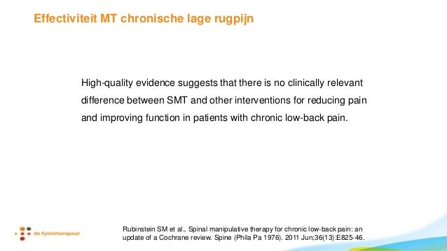 Effectiviteit MT bij lage rugpijn Like previous SM for LBP systematic reviews, this review shows a small but consistent tr...