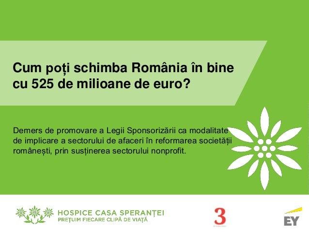 Cum poți schimba România în bine  cu 525 de milioane de euro?  Demers de promovare a Legii Sponsorizării ca modalitate  de...