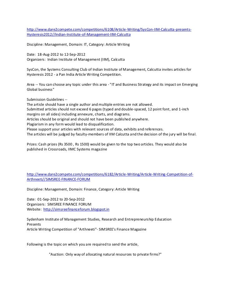 http://www.dare2compete.com/competitions/6108/Article-Writing/SysCon-IIM-Calcutta-presents-Hysteresis2012//Indian-Institut...