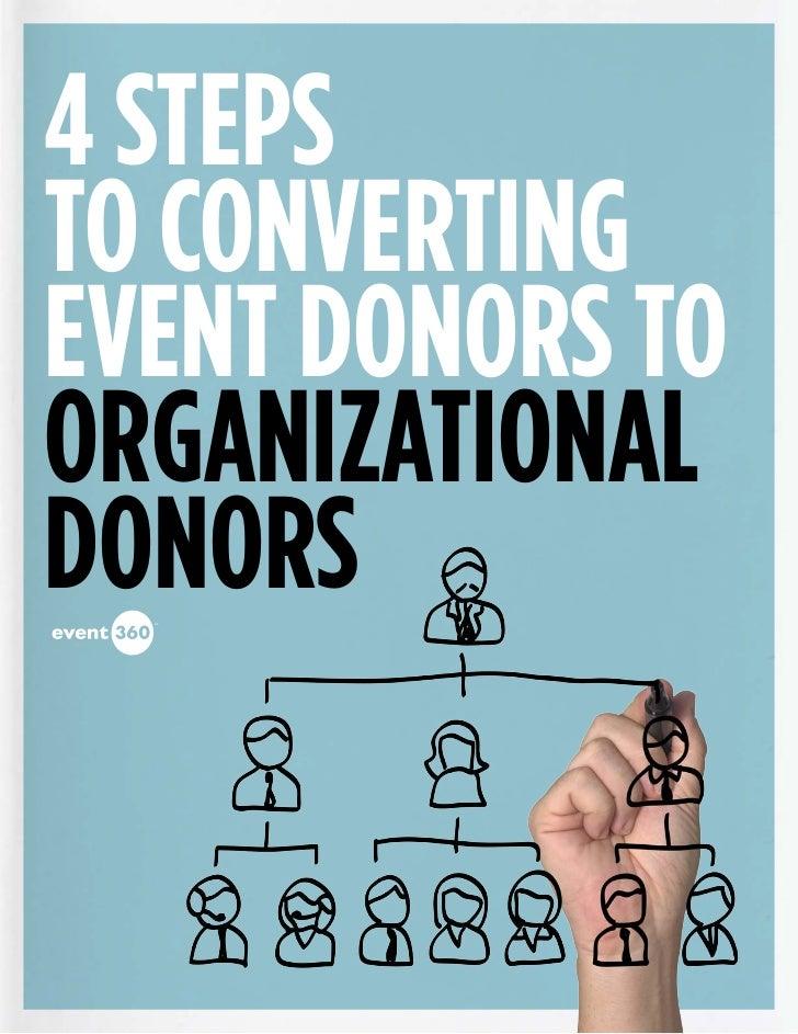 4 stepsto ConvertingEvent Donors toOrganizationalDonors  sm