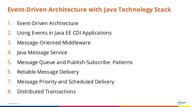 Event driven architecture with java technology stack for Architecture java
