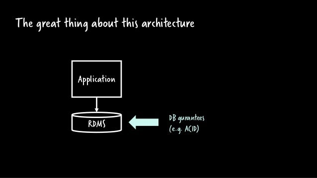 The great thing about this architecture RDMS Application DB gurantees (e.g. ACID)