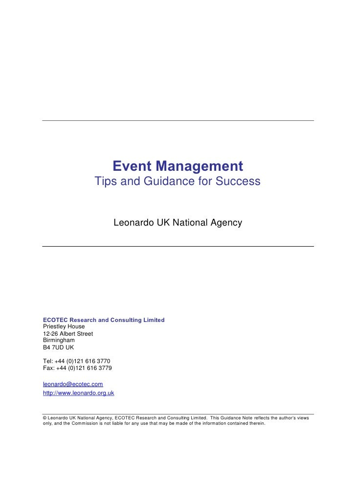 Event Management                       Tips and Guidance for Success                                  Leonardo UK National...