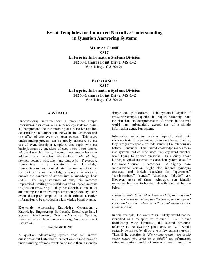 Event Templates for Improved Narrative Understanding                              in Question Answering Systems           ...