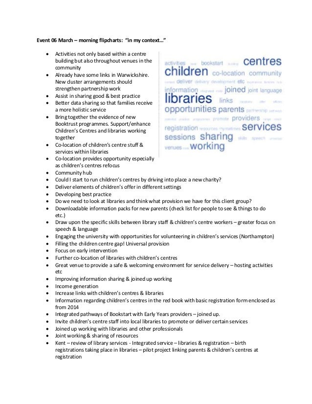 """Event 06 March – morning flipcharts: """"in my context…""""  Activities not only based within a centre building but also throug..."""