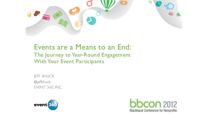 Events are a Means to an End:The Journey to Year-Round EngagementWith Your Event ParticipantsJEFF SHUCK@jeffshuckEVENT 360...