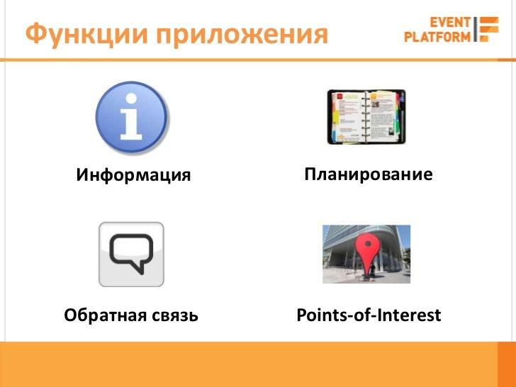 Функции приложения   Информация       Планирование  Обратная связь   Points-of-Interest