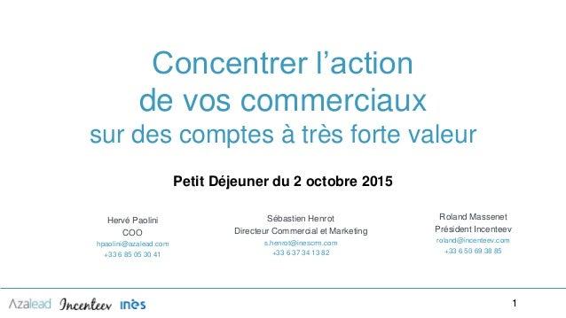 ‹#›‹#› Petit Déjeuner du 2 octobre 2015 Hervé Paolini COO hpaolini@azalead.com +33 6 85 05 30 41 1 Concentrer l'action de ...