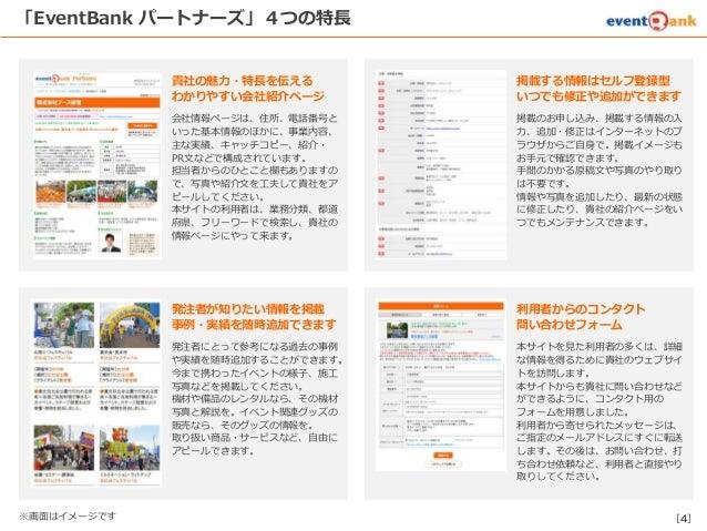 [4] 「EventBank パートナーズ」4つの特長 掲載する情報はセルフ登録型 いつでも修正や追加ができます 掲載のお申し込み、掲載する情報の入 力、追加・修正はインターネットのブ ラウザからご自身で。掲載イメージも お手元で確認できます。...