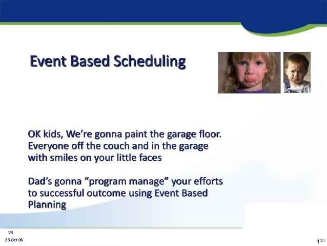 23 Oct 06 V3 1/21 Event Based Scheduling OK kids, We're gonna paint the garage floor. Everyone off the couch and in the ga...