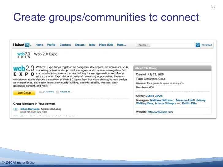 Create groups/communities to connect<br />11<br />
