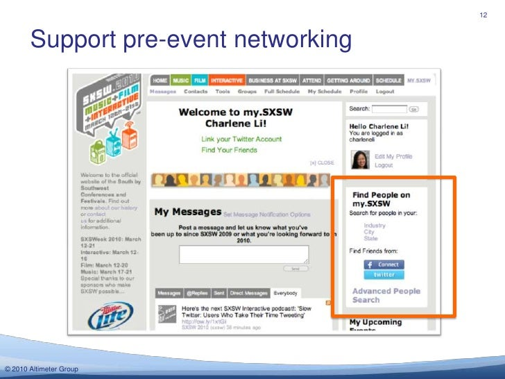 Support pre-event networking<br />12<br />