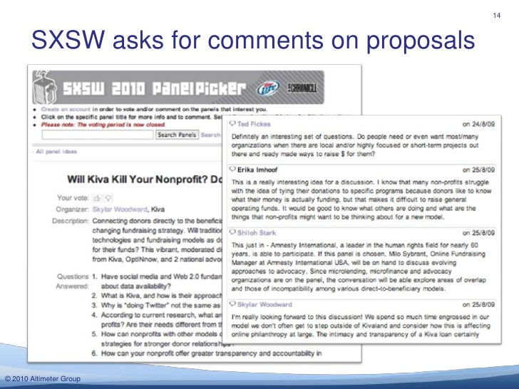 SXSW asks for comments on proposals <br />14<br />