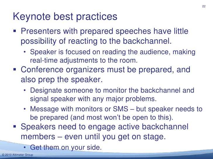 Presenters with prepared speeches have little possibility of reacting to the backchannel.<br />Speaker is focused on readi...