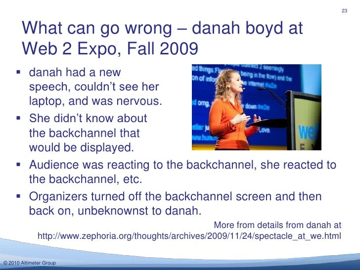 What can go wrong – danah boyd at Web 2 Expo, Fall 2009<br />23<br />danah had a new speech, couldn't see her laptop, and ...