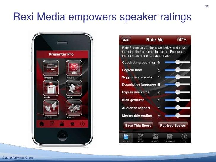 Rexi Media empowers speaker ratings<br />27<br />