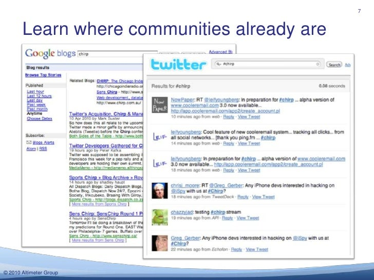Learn where communities already are<br />7<br />
