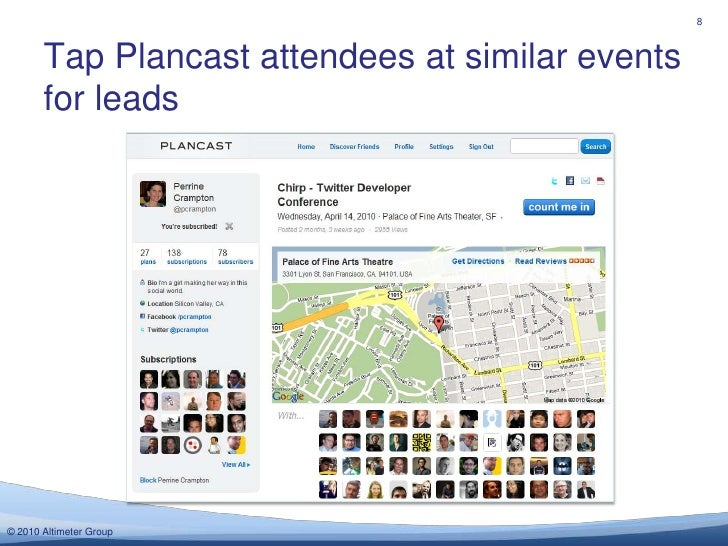 Tap Plancast attendees at similar events for leads<br />8<br />