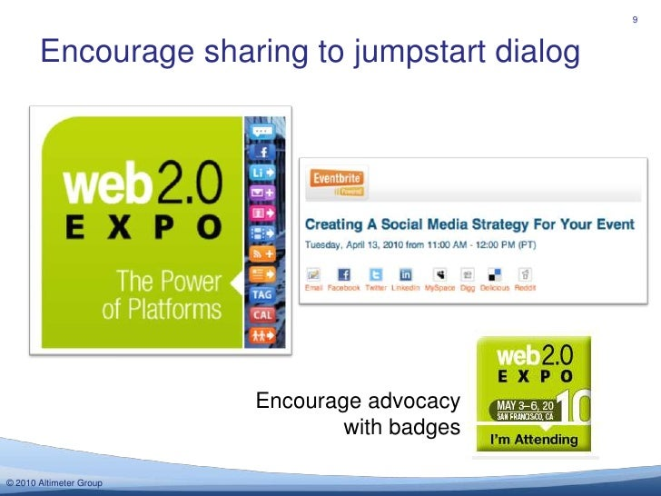 Encourage sharing to jumpstart dialog<br />9<br />Encourage advocacy with badges<br />