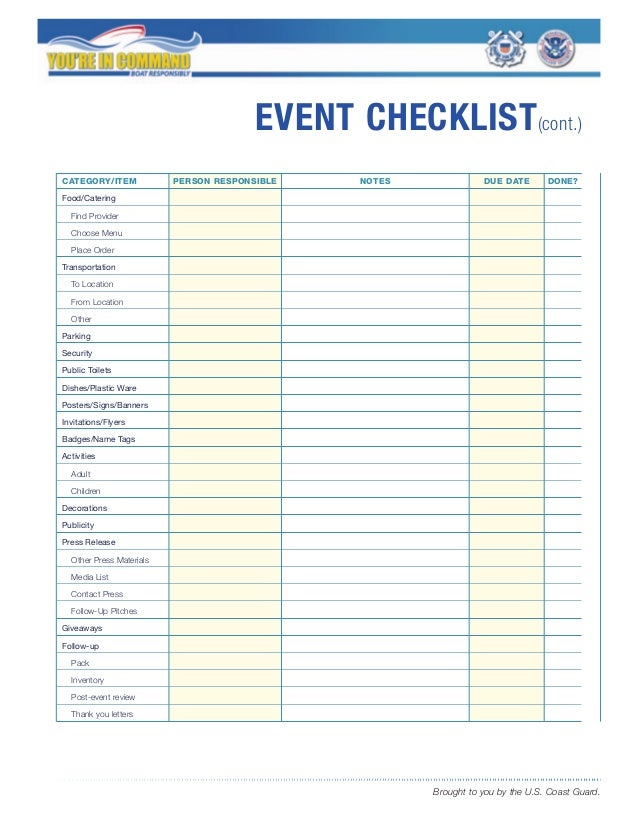 event planning tools templates - event checklist