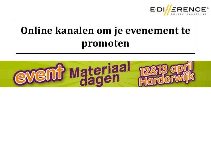 Online kanalen om je evenement te promoten<br />