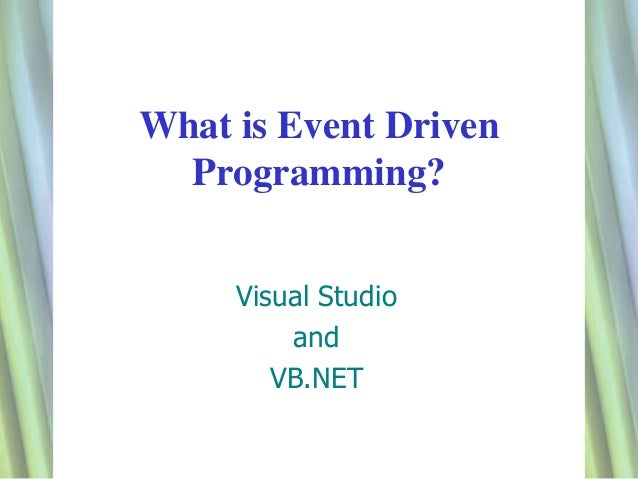 Event driven program key features p1