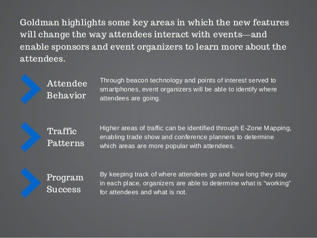 Goldman highlights some key areas in which the new features will change the way attendees interact with events—and enable ...